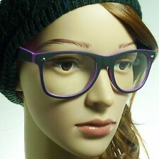 RETRO Oversized Soft Matte Frame Fashion Clear Lens Eye Glasses BLACK/PURPLE NEW