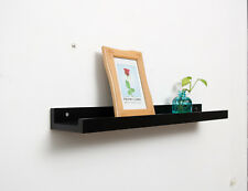 Wandbord 95x12x5cm, Wandregal Massiv Bambus FSC zertifiziert, Farbe Schwarz