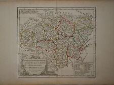 c1780 Genuine Antique hand colored map central eastern France. De Vaugondy