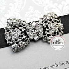 "1 X WEDDING INVITATION RHINESTONE VINTAGE BUCKLE CLUSTER BROOCH DIAMANTE ""BOW"""