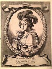 "FRANCOIS CHAUVEAU,""ERMINE"" acquaforte originale XVII secolo.PARIGI"