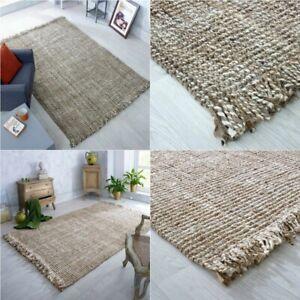 100% Jute Rectangle Natural Braided Floor Mat Handmade Reversible Runner Rug UK