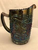 Fenton Iridescent Carnival Glass Pitcher Brown Green Purple Grapes Scalloped Top
