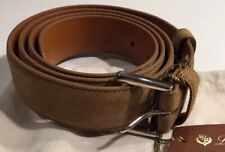525$ Loro Piana Khaki Men's Suede Belt Size 42 Made in Italy