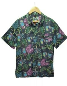 Mambo Loud Bird Parrots Print Grey Mens Button Up Shirt Size Large Beach Casual