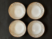 4 Ciroa Luxe Velluto Scroll Bowls Gold White Metallic Filagree Fine Porcelain