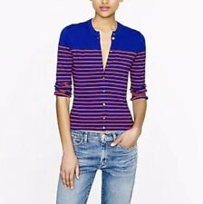J Crew Jackie Cardigan Striped Blue Orange With Anchor Buttons