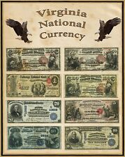 """Virginia U S Large National Bank Notes 16""""x20"""" Poster Part of a State set"""