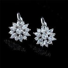 Fashion Women Snow Flower Hoop Earrings Cubic Zirconia Earings Ear Hoop Jewelry