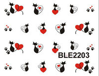 Black Pussy Cats Paws Hearts Water Transfers Nail Art Sticker Decals Decoration
