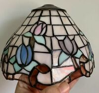 """Tiffany Style Stained Glass Tulip Floral Lamp Shade Approx 6"""" Multi-Color"""