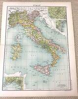 1891 Antik Map Of Italien Sardinien Corsica Sizilien Bay Neapel Alt 19th Century