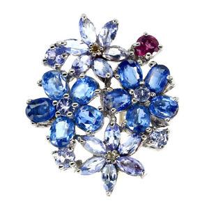 Unheated Oval Kyanite Rhodolite Tanzanite Gems 925 Sterling Silver Ring Size 8
