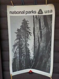 Vtg National Parks USA Giant Sequoias Yosemite Natl Park Ansel Adams Poster 1968