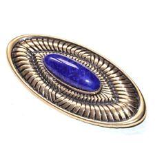 Broche vintage de couleur or patiné porcelaine bleue façon Lapis Lazuli bijou
