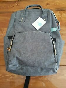 NWT AFBP Sydney Breast Pump Backpack Diaper Bag Grey With Gold Hardware