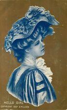 Postcard Gibson-like Girl - Hello Girl - Gold Background - circa 1908