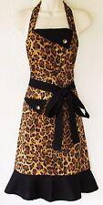 Leopard Print Apron, Animal Print, Womens Full Apron, Retro Style, Handmade