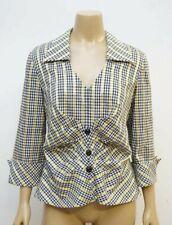 Joseph Ribkoff Womens Size 12 Blouse Top Plaid 3/4 Sleeve V Neck