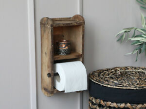 Reclaimed Wood Toilet Roll Holder Handmade Rustic Unfinished Look Wall Mounted