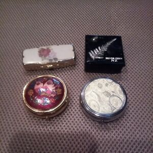 Lot Of 4 Pill Boxes-Metal-Small. In good pre-owned condition. Some vintage