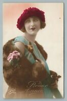 Fur Coat Woman w Cat Cane RPPC Antique French Hand Colored Studio Photo Leo 1925