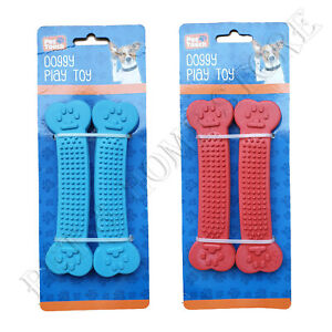 Pack of 2 Puppy Dental Cleanning Chew toy Teething add strong Rubber Blue or Red