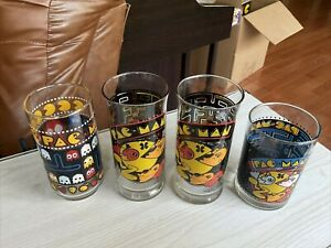 4x Pac-man glasses 1980 1982 arby's bally midway air force exchange service