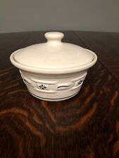 Longaberger pottery blue woven traditions small covered dish with lid