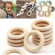 50PCS DIY Wooden Beads Connectors Circles Rings Beads Lead-Free Natural Wood