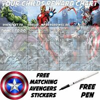 MAGNETIC BACKED Avengers Personalised reusable reward chart with stickers & pen