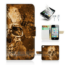 ( For iPhone 4 / 4S ) Wallet Case Cover! Skull P1421