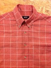 men's HUGO BOSS Medium Red Check Flannel Shirt. Long Sleeve. Great Cond.