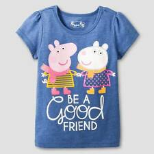 """""""PEPPA PIG"""" Adorable  GIRL'S BLUE SHORT SLEEVE SHIRT SIZE 2T NWT  #F2"""
