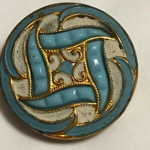 Antique Brass Button Matte Enamel Blue with Glass Insert