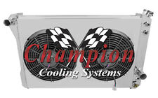 "1982-1992 4 Row Camaro Trans Am Champion Radiator With Shroud & SPAL 12"" Fans"