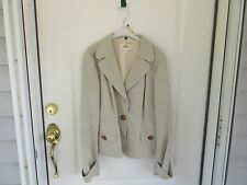 Talbots Ladies Size 16 Green and Cream Pinstripe Blazer