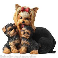 Yorkie Kisses Mama Dog and Puppies Masterpiece Sculpture: Bradford Exchange