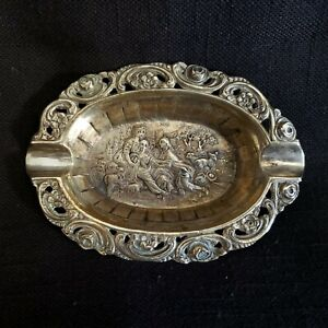 "Early 20th Century 800 Silver Antique Scene Ashtray | Very Nice Shape 4.5"" x 3"""