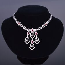Pearl Ruby and Diamond Necklace and Earring Suite in 18k White Gold