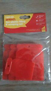 Amtech 4PC Plastic Filling & Scraping Set-5,8,10,12cm Widths - Flexible,Reusable