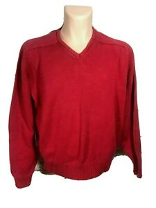Pendleton Country Traditionals Sweater Pullover Red V neck Mens Cotton X-Large