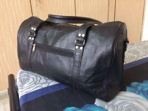 20 In Black Leather Duffle Bag Overnight Weekend Travel Carryon Luggage Handbag