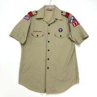 Boy Scouts BSA of America Vtg Official Uniform Shirt Mens L Khaki Tan PATCHES