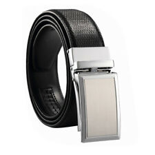 Men Genuine Leather Alloy Automatic Buckle Waistband Belt Waist Strap
