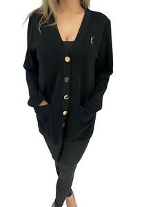 Auth Yves Saint Laurent Vintage Logo Cardigan #L Black Gold logo Button RankAB+
