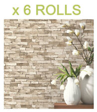Textured Brick Effect Wallpaper Beige Realistic P&S Shading Bulk Deal 6 Rolls