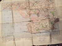 VINTAGE ORDNANCE SURVEY FABRIC MAP 1931 LLANELY WALES