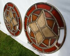 PAIR OF LARGE ROUND ART DECO ARCHITECTURAL FRENCH WINDOWS 24 PANEL A/F 82CM