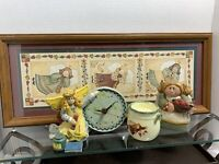 Lot Of Angel Picture 'Homco'/Resin Clock/ 2 Resin Angels/ Candleholder